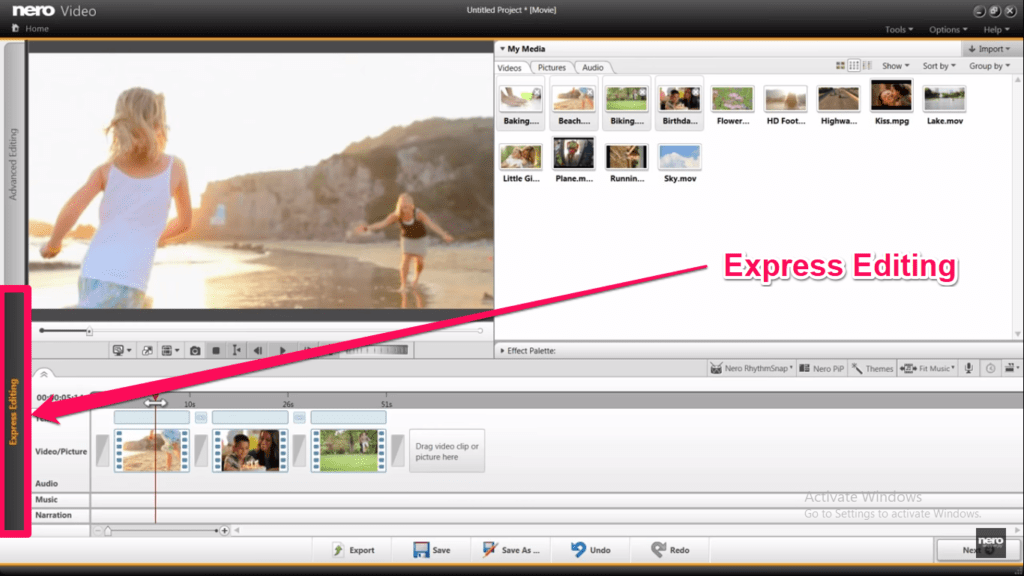 video editing tools Nero Video Editor interface