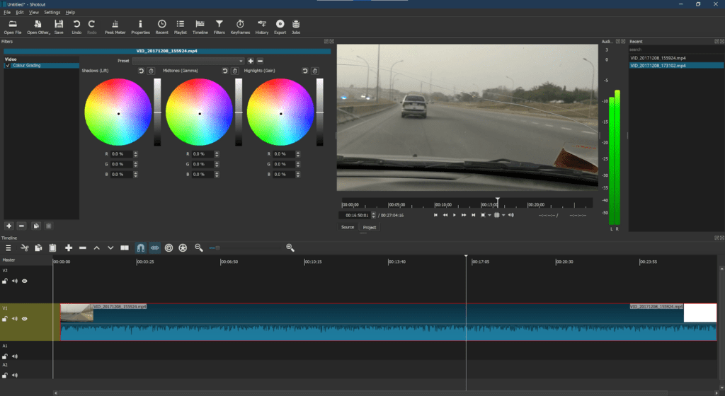 video editing tools shotcut interface