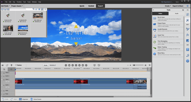 video editing tools premiere elements interface